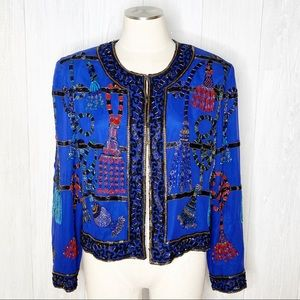 Vintage   Royal Blue Silk Beaded Jacket Sz. L